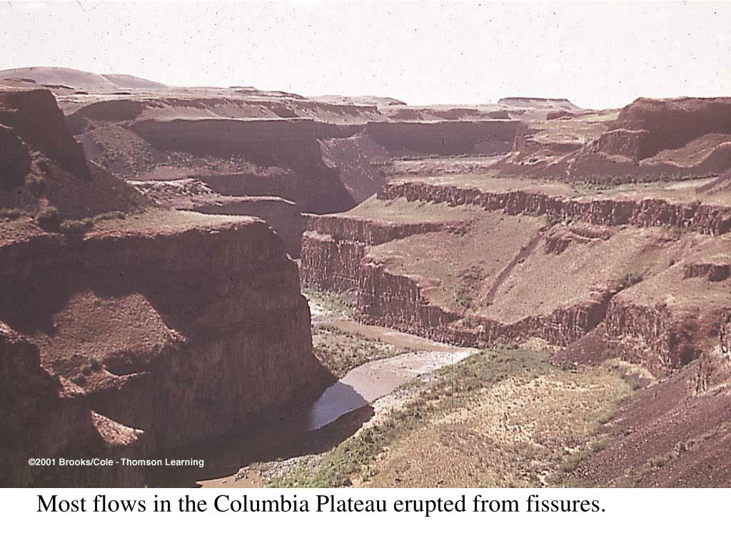 Most flows in the Columbia Plateau erupted from fissures.