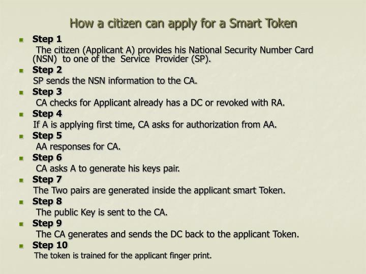 How a citizen can apply for a Smart Token
