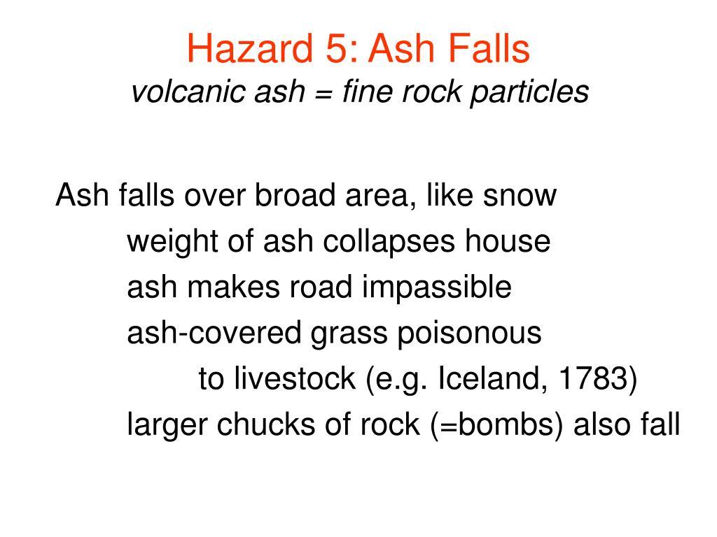 Hazard 5: Ash Falls