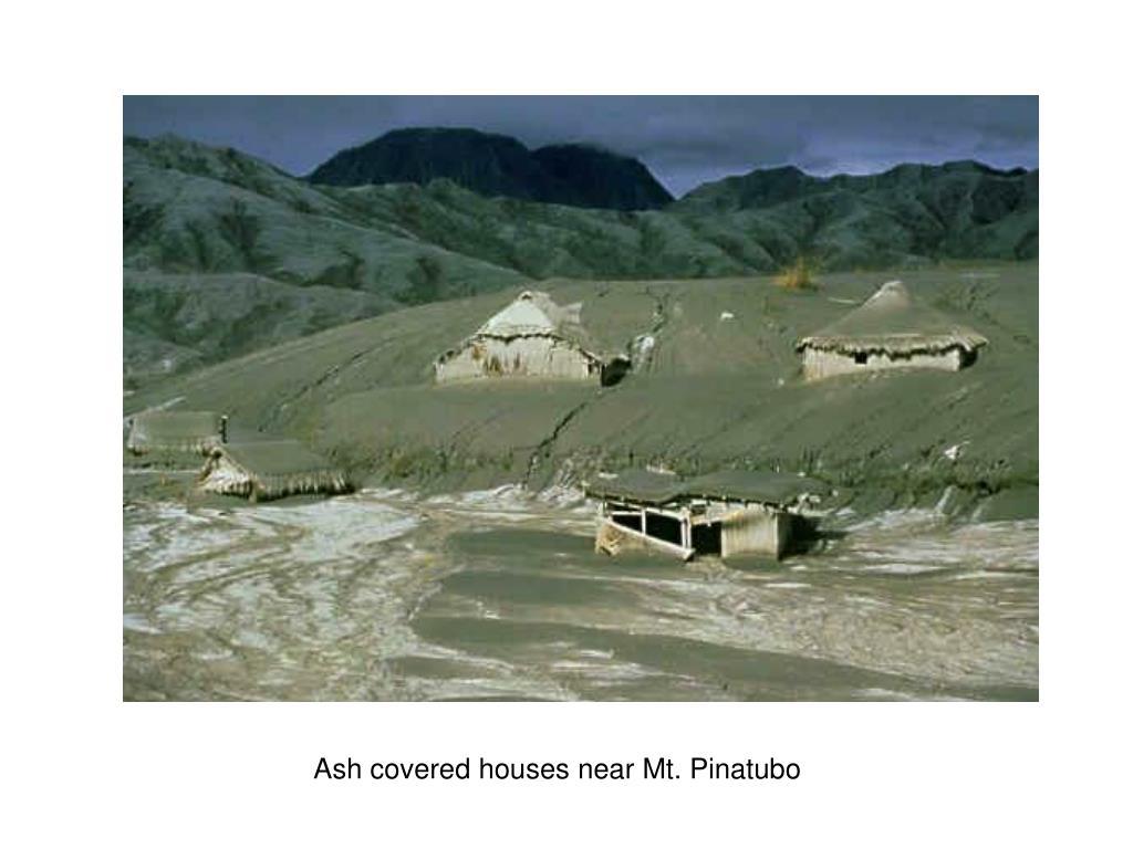 Ash covered houses near Mt. Pinatubo