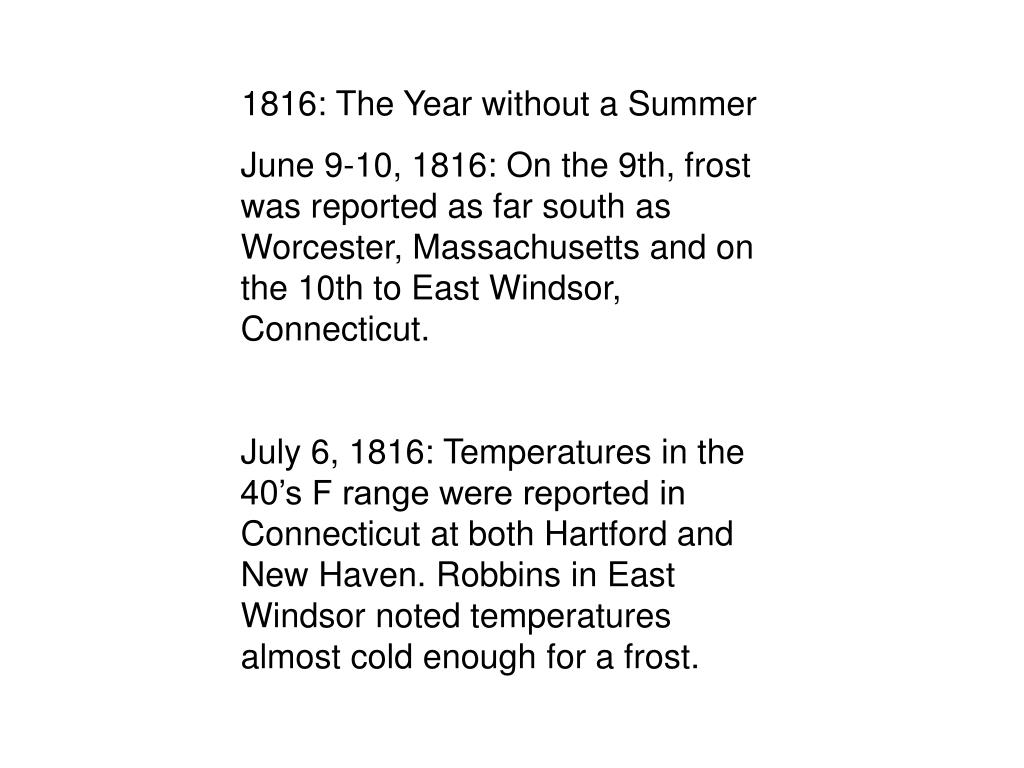 1816: The Year without a Summer