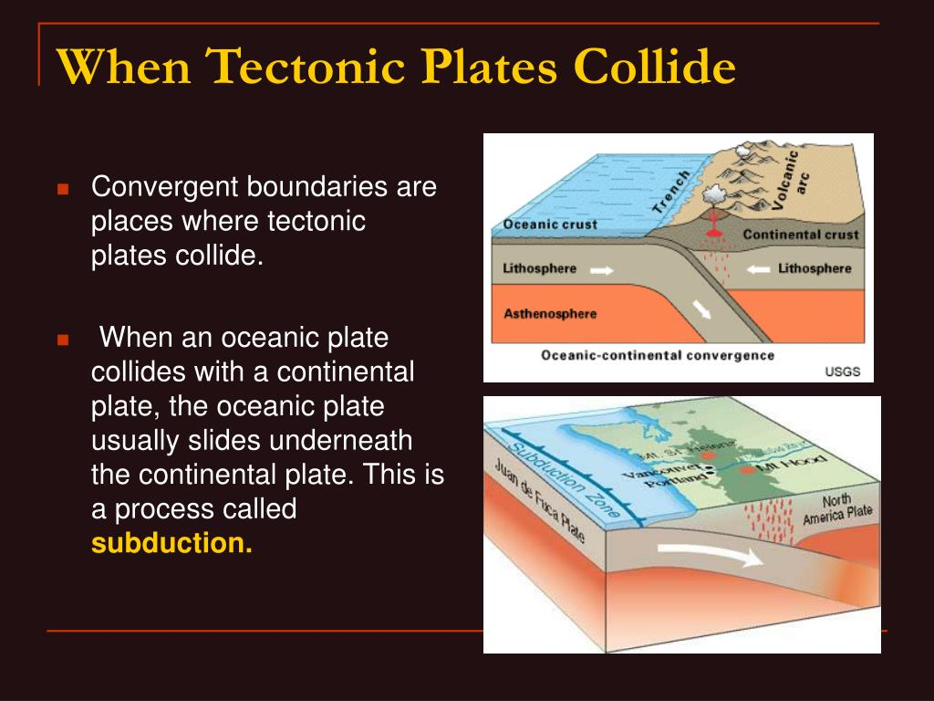 Convergent boundaries are places where tectonic plates collide.