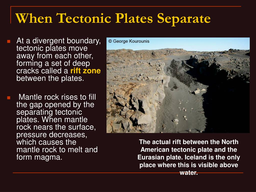 At a divergent boundary, tectonic plates move away from each other, forming a set of deep cracks called a