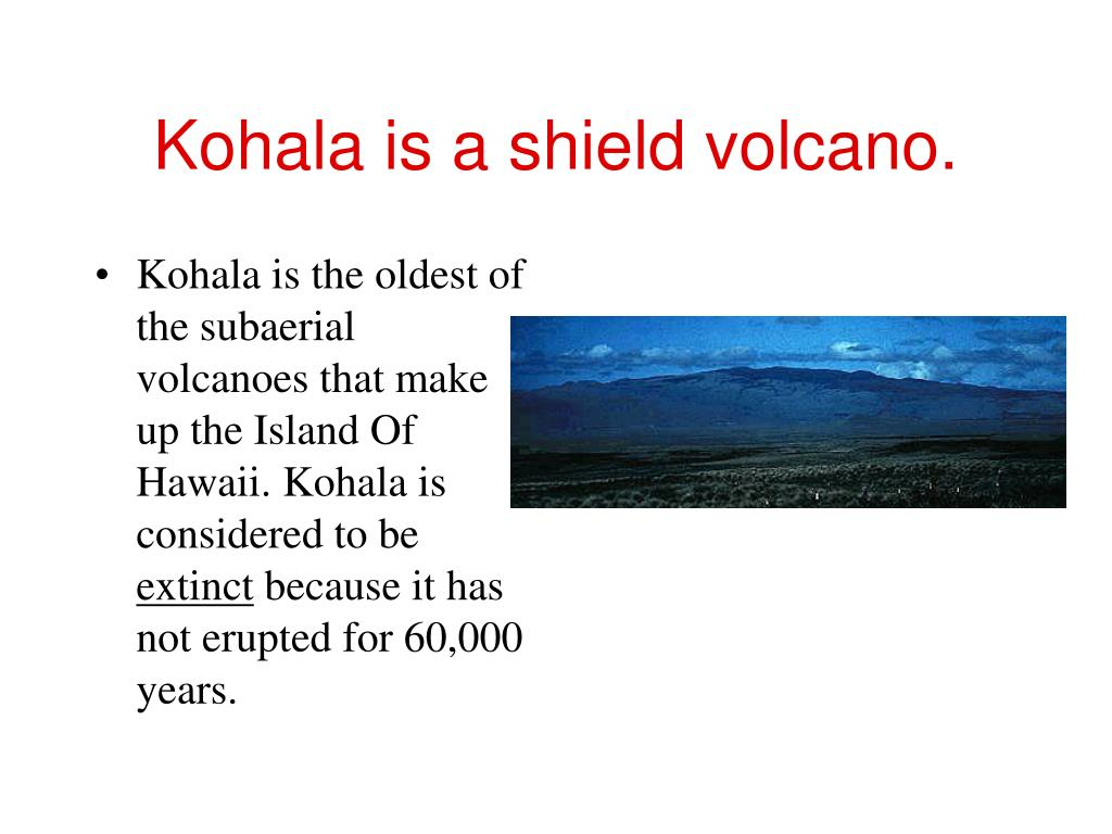 Kohala is a shield volcano.