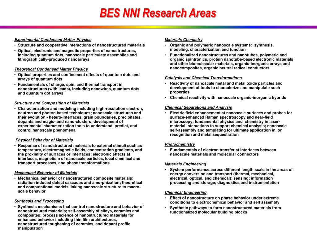 BES NNI Research Areas