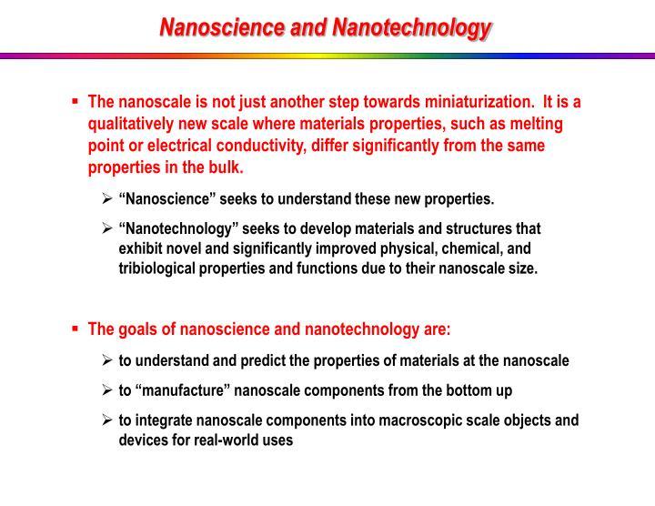 Nanoscience and Nanotechnology