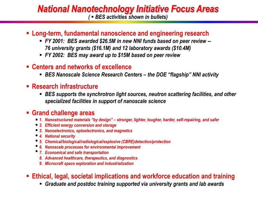 National Nanotechnology Initiative Focus Areas