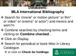 databases mla international bibliography
