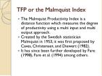 tfp or the malmquist index
