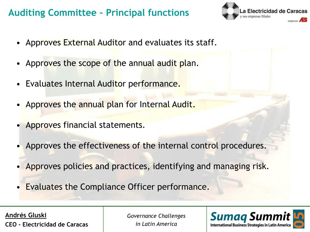 Auditing Committee – Principal functions