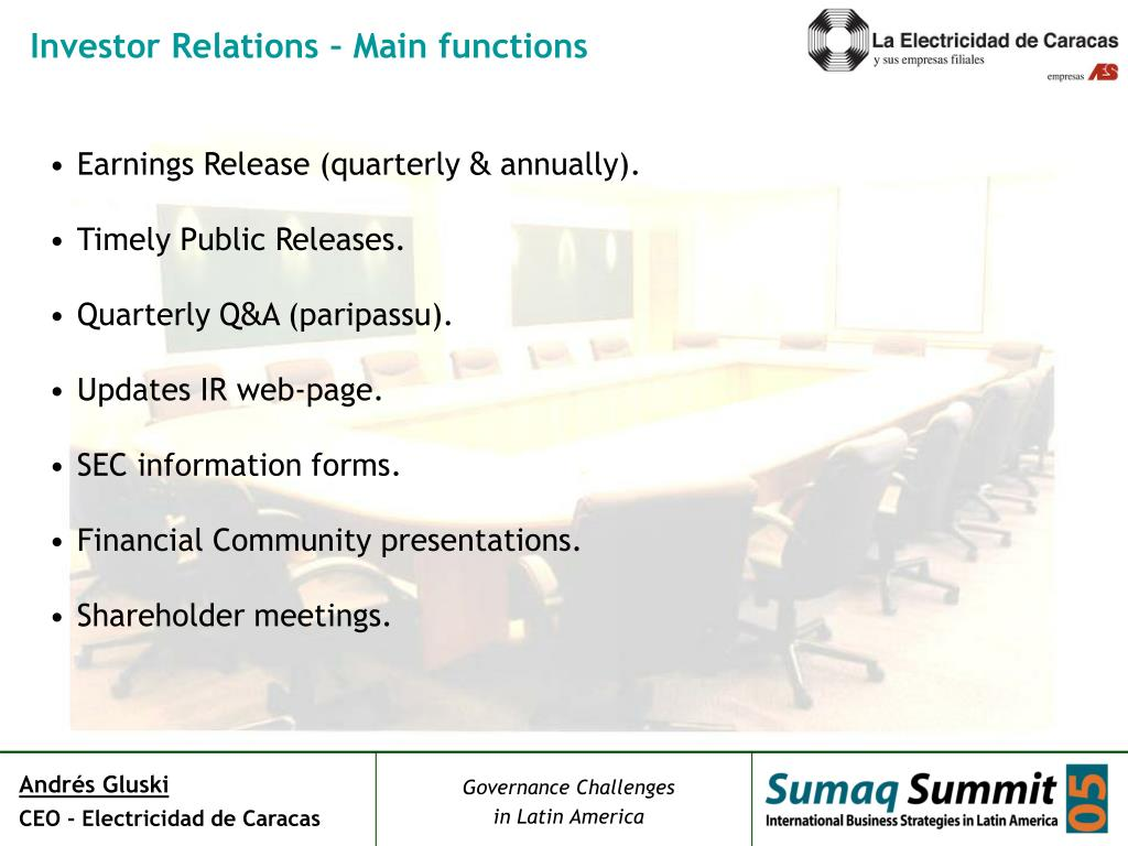 Investor Relations – Main functions