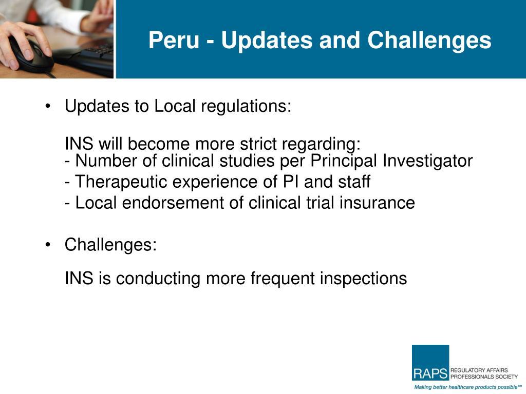 Peru - Updates and Challenges