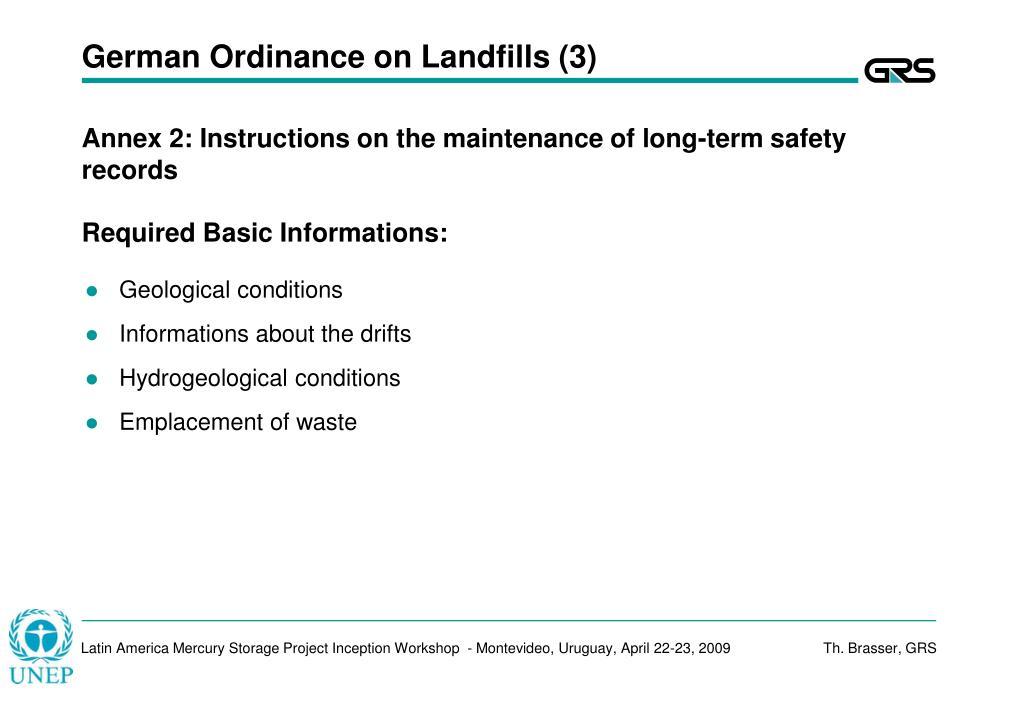 German Ordinance on Landfills (3)