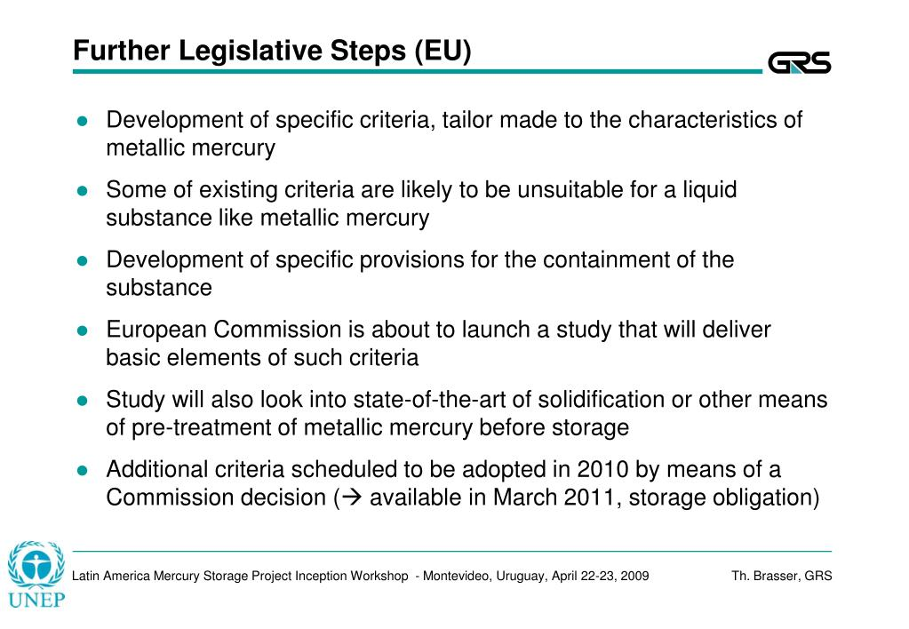 Further Legislative Steps (EU)