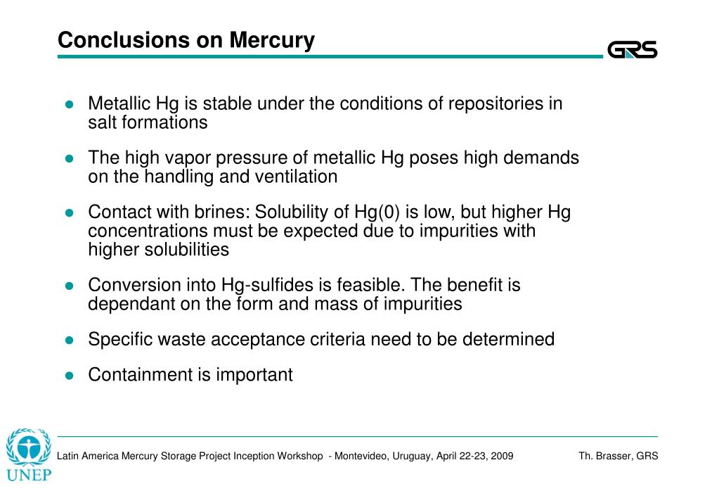 Conclusions on Mercury