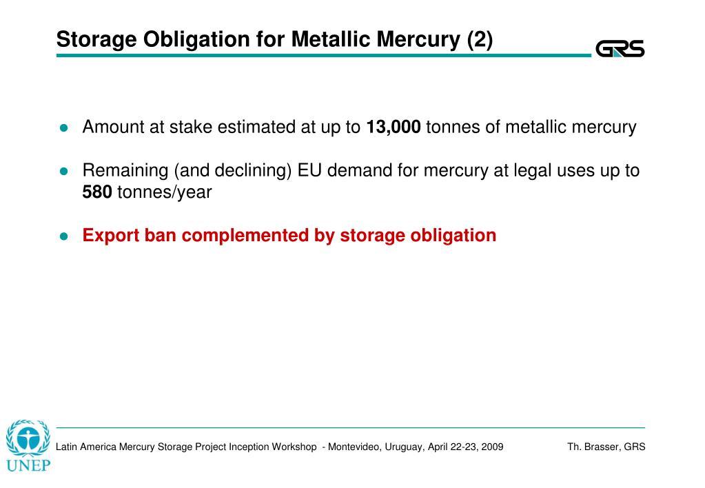 Storage Obligation for Metallic Mercury (2)