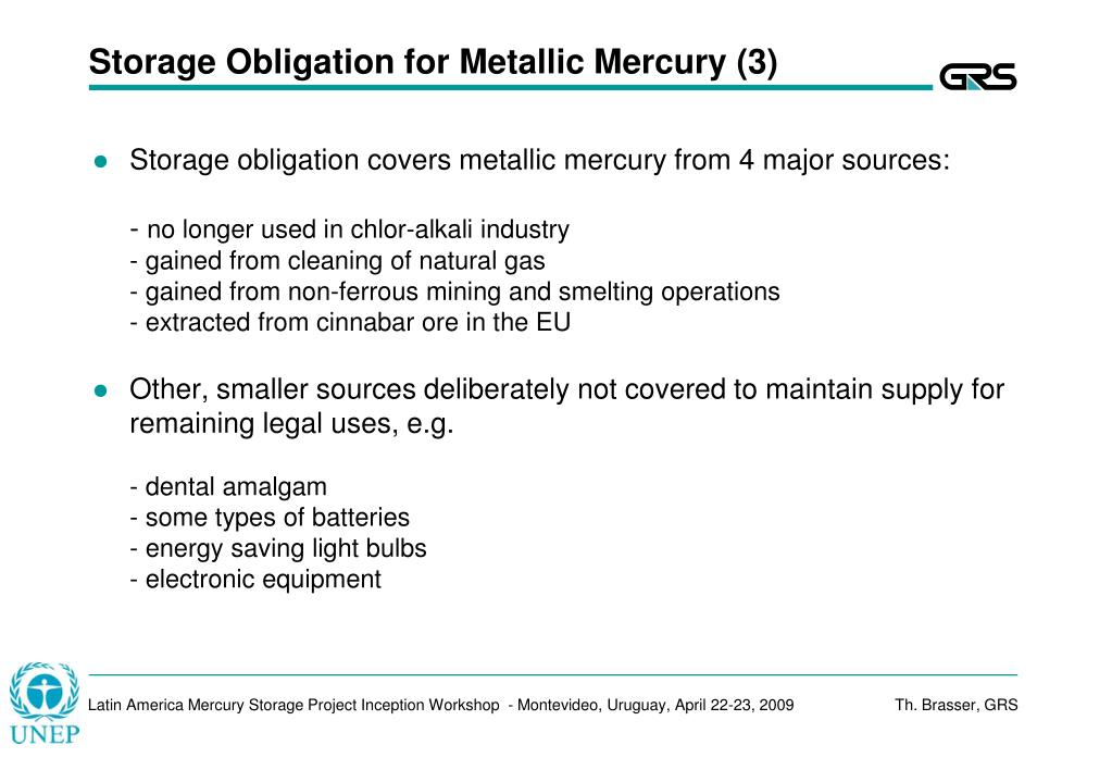 Storage Obligation for Metallic Mercury (3)
