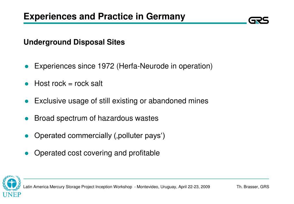 Underground Disposal Sites