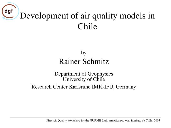 Development of air quality models in chile