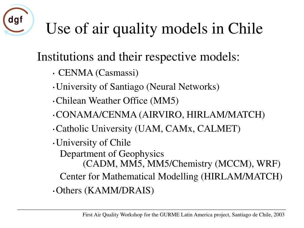 Use of air quality models in Chile