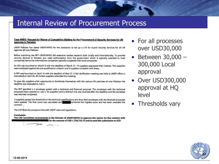 Internal Review of Procurement Process
