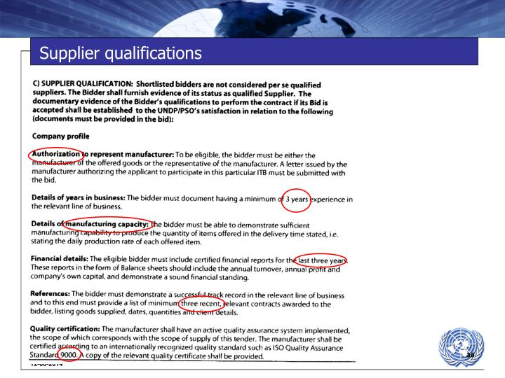 Supplier qualifications