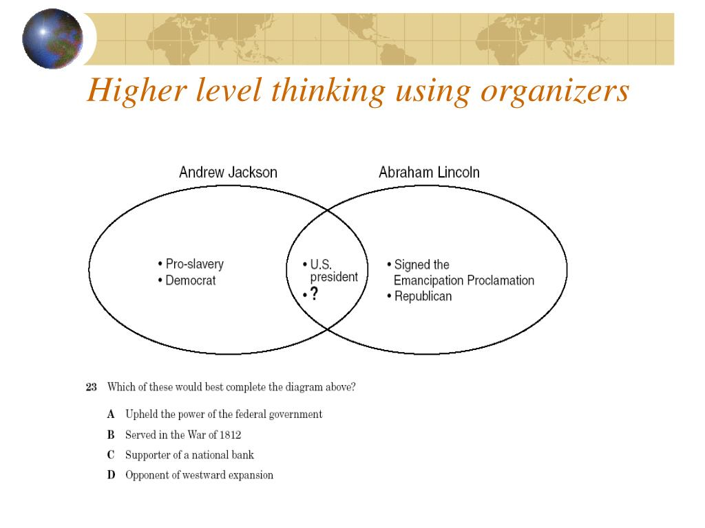 Higher level thinking using organizers