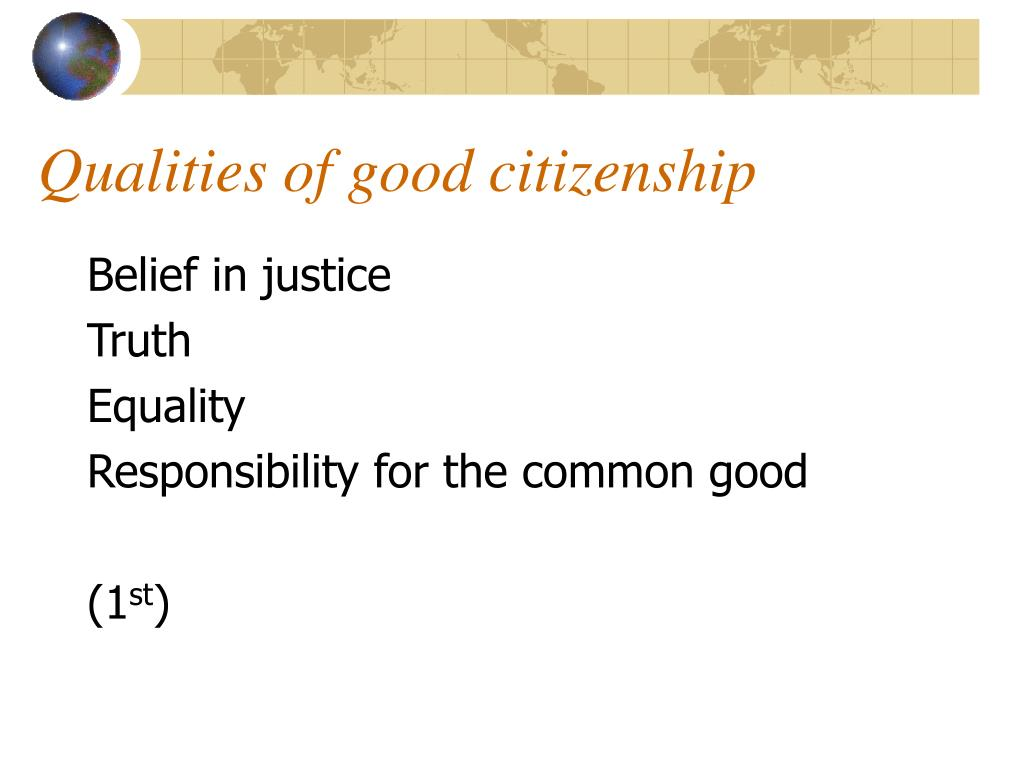Qualities of good citizenship