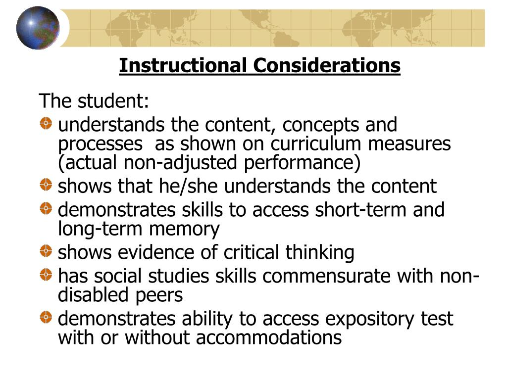 Instructional Considerations