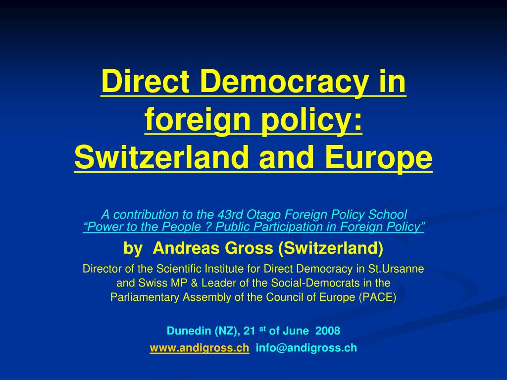 direct democracy in foreign policy switzerland and europe l.