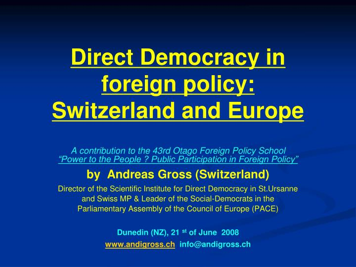 Direct democracy in foreign policy switzerland and europe