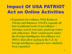 impact of usa patriot act on online activities