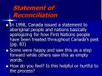 statement of reconciliation