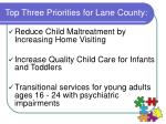 top three priorities for lane county