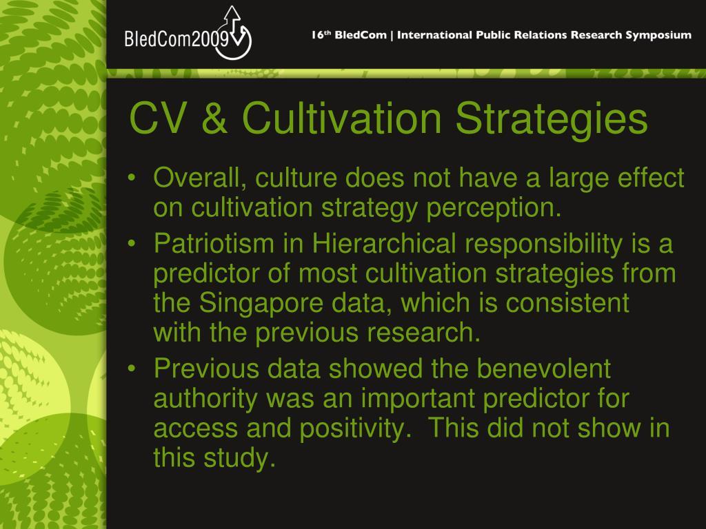 CV & Cultivation Strategies