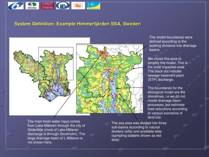 The model boundaries were defined according to the existing divisions into drainage basins.