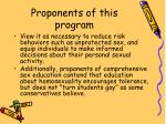 proponents of this program