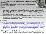 iran nuke program nearly independent