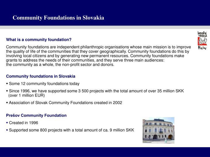 Community foundations in slovakia