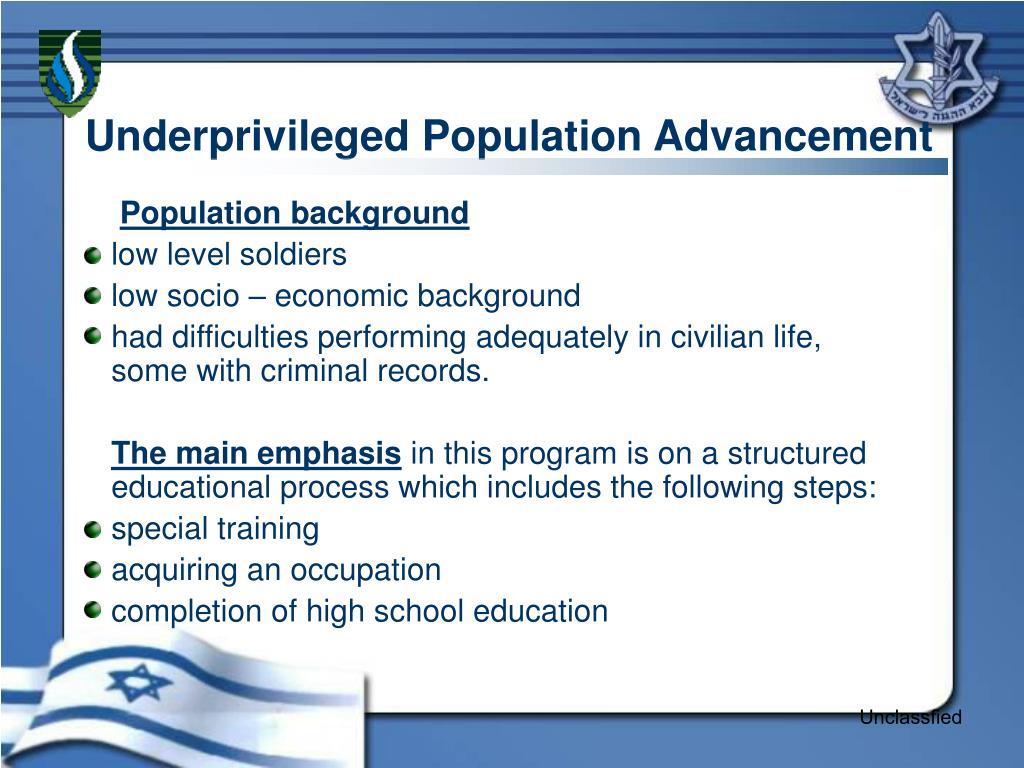 Underprivileged Population Advancement