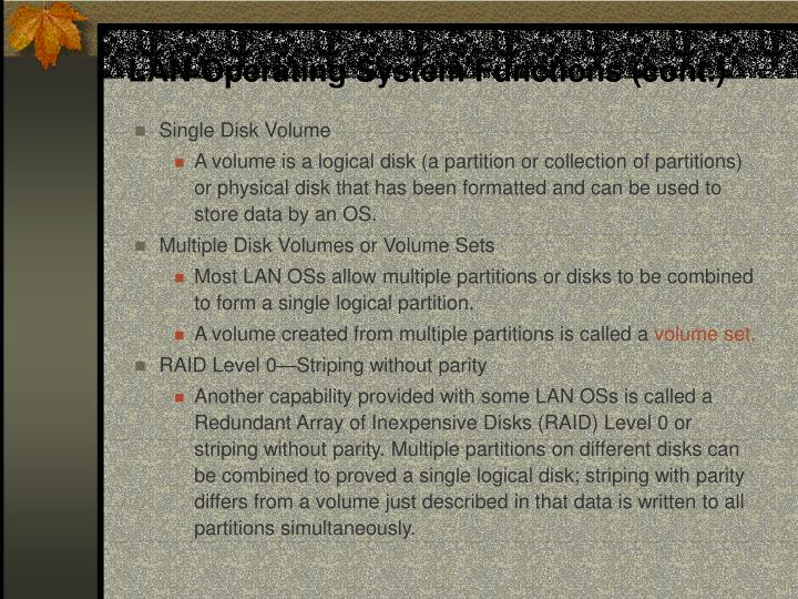 LAN Operating System Functions (cont.)