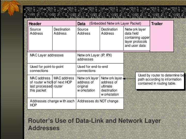 Router's Use of Data-Link and Network Layer Addresses