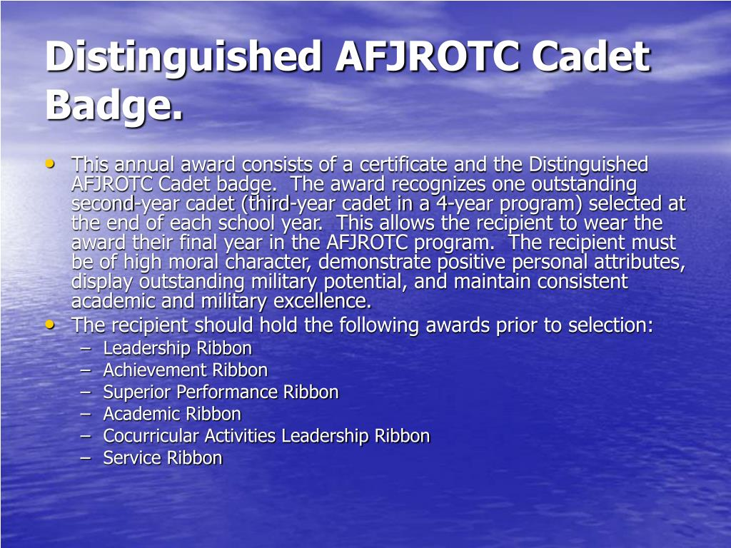 Distinguished AFJROTC Cadet Badge.