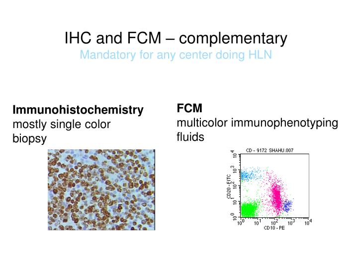 IHC and FCM – complementary