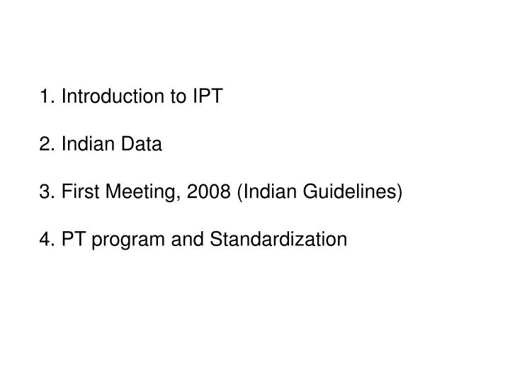 1. Introduction to IPT