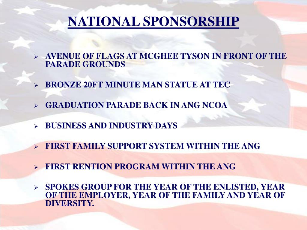 NATIONAL SPONSORSHIP