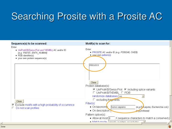 Searching Prosite with a Prosite AC