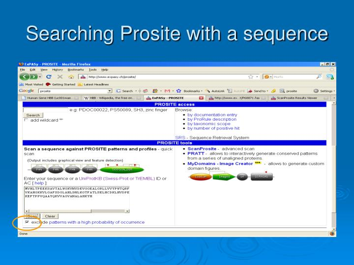 Searching Prosite with a sequence