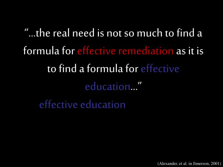 """""""…the real need is not so much to find a formula for"""