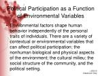 political participation as a function of environmental variables